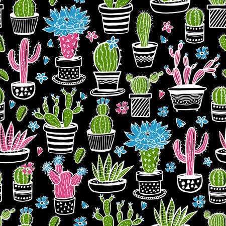 Cactus and succulent hand drawn seamless pattern in sketch style on black. Doodle colors flowers in pots. Vector colorful cute house interior plants.