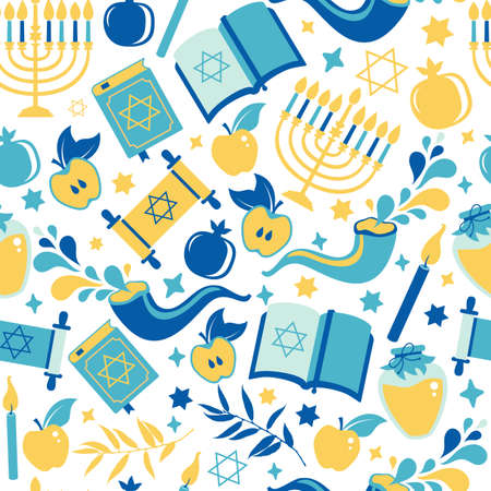 Yom Kippur seamless pattern with candles, apples and shofar and sybols. Jewish holiday background. Vector surface print illustration on white.