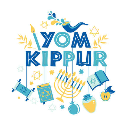 Yom Kippur greeting card with candles, apples and shofar and sybols. Jewish holiday background. Vector illustration on white.
