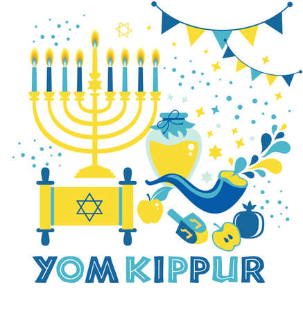 Yom Kippur greeting card with candles, apples and shofar and sybols. Jewish holiday background. Vector illustration on white. Translation in Enhlish of atonement day. Stok Fotoğraf - 154860967