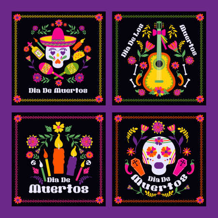 Dias de los Muertos typography banners vector. Mexico design for fiesta cards or party invitation, poster. Flowers traditional mexican frame with floral letters on black background.
