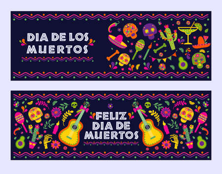 Dias de los Muertos typography banners vector. Mexico design for fiesta cards or party invitation, poster. Flowers traditional mexican frame with floral letters on dark background. 向量圖像