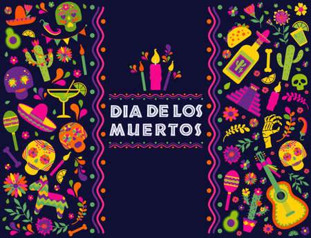 Dias de los Muertos typography banner vector. Mexico design for fiesta cards or party invitation, poster. Flowers traditional mexican frame with floral letters on dark background. 向量圖像