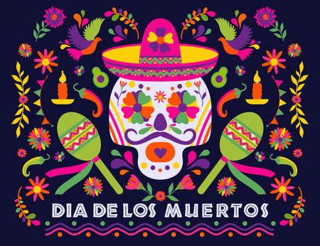 Dias de los Muertos typography banner vector. Mexico design for fiesta cards or party invitation, poster. Flowers traditional mexican frame with floral letters on dark background. Feast of death. 向量圖像
