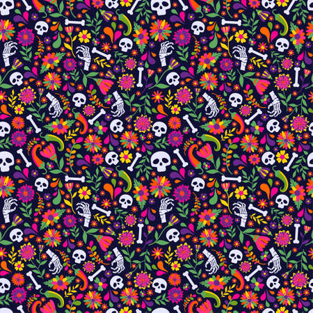 Seamless vector pattern with mexican elements - guitar, sombrero, tequila, taco, skull on dark. Perfect artistic background for your design. Dias de los muertos. Translate-Feast of death. 向量圖像