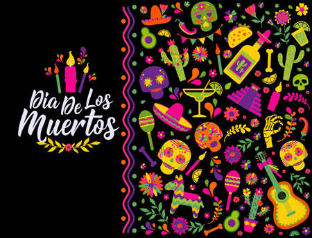 Dias de los Muertos typography banner vector. In English Translate - Feast of death. Mexico design for fiesta cards or party invitation, poster.