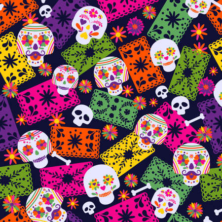 Seamless vector pattern with mexican elements sombrero, . Perfect artistic background for your design. Dias de los muertos. Translate-Feast of death.