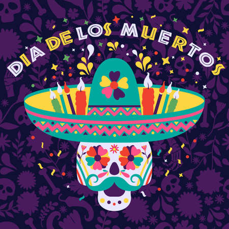 Dias de los Muertos trend flat banner vector. In English Feast of death. Mexico design for fiesta cards or party invitation, poster. Flowers traditional mexican surface seamles pattern. 向量圖像