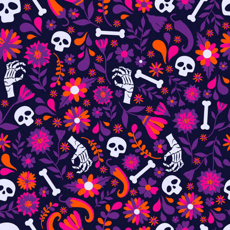 Seamless vector pattern with mexican elements. Perfect artistic background for your design. Dias de los muertos. Translate-Feast of death.
