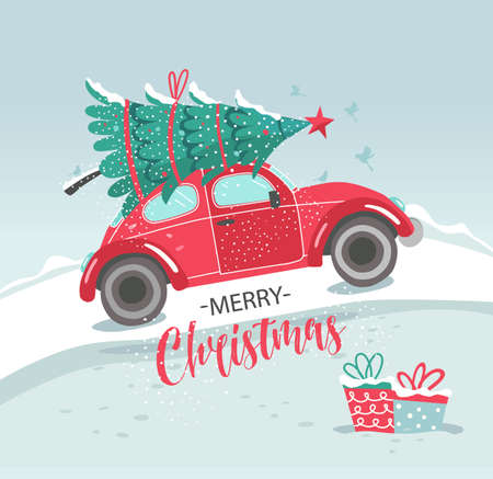 Vector picture with red car and Christmas tree. Christmas picture. Red pickup. New year illustration delivery service.