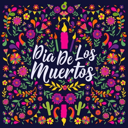 Dias de los Muertos typography banner vector. In English Translate - Feast of death. Mexico design for fiesta cards or party invitation, poster. Lettering poster. 向量圖像