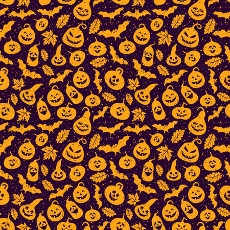 Abstract seamless halloween pattern Creative vector background with bat, leaf pumpkin. Funny pattern for textile and fabric. Colorful bright surface print picture. 向量圖像