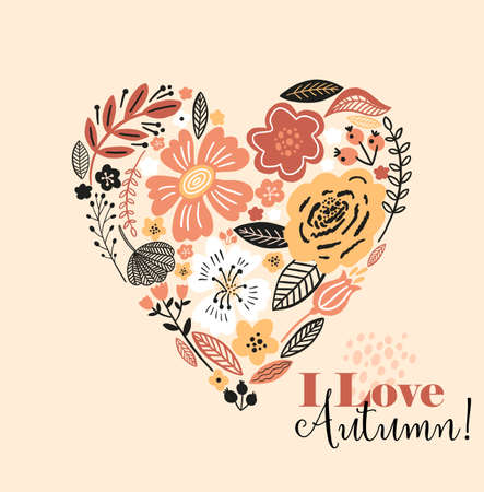 Lovely autumn card with a heart, flowers, leaves and with the inscription I love autumn. Perfect for greeting cards, postcards, t-shirt design and other yours design in trend colors. 向量圖像