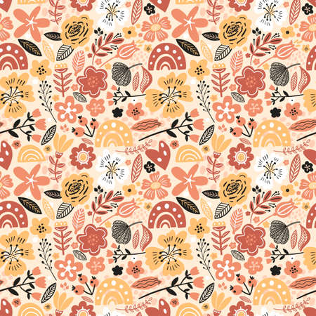 Vector floral seamless pattern white colors autumn. Flat flowers, petals, leaves with and doodle elements. Collage style botanical background for textile and surface. Cutout paper design. Stok Fotoğraf - 155777670