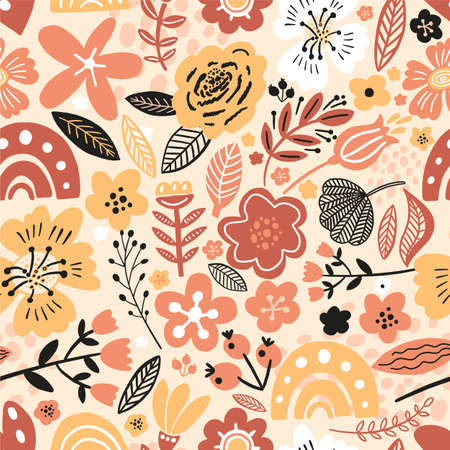 Vector floral seamless pattern white colors autumn. Flat flowers, petals, leaves with and doodle elements. Collage style botanical background for textile and surface. Cutout paper design. 向量圖像