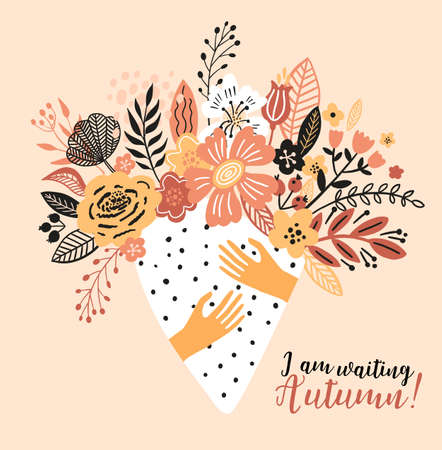 Lovely autumn card with a bouqet flowers, leaves and with the inscription I am waiting Autumn. Perfect for greeting cards, postcards, t-shirt design and other yours design in trend colors. 向量圖像
