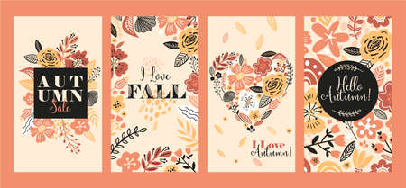 Vector floral banner sale autumn illustration in trend colors. Flat flowers, petals, leaves doodle elements.
