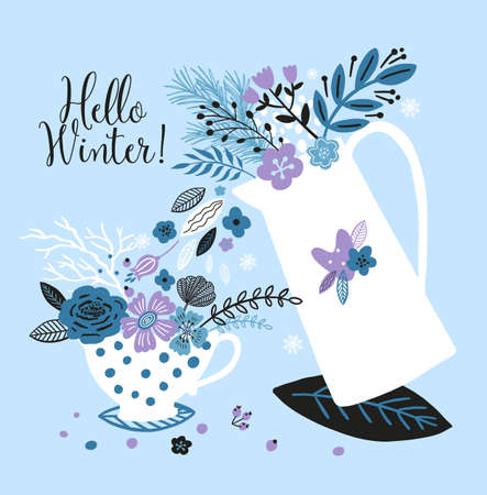 Lovely new year card with a kettle, cup, flowers, leaves and with the inscription Hello Winter. Perfect for greeting cards, postcards, t-shirt design and other yours design in trend colors. 向量圖像