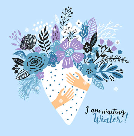 Lovely winter card with a bouqet flowers, leaves and with the inscription I am waiting Winter. Perfect for greeting cards, postcards, t-shirt design and other yours design in trend colors.