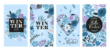 Vector floral banner sale winter illustration in trend colors. Flat flowers, petals, leaves doodle elements. Çizim