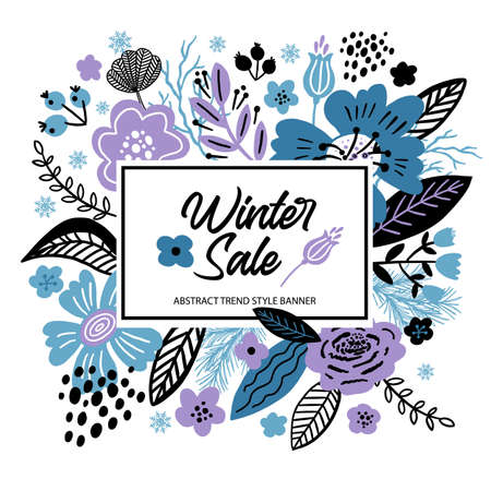 Vector floral banner sale winter illustration in trend colors. Flat flowers, petals, leaves with and doodle elements. Collage style botanical background for sale. 向量圖像