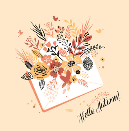 Lovely autumn card with a bouqet flowers, leaves envelope and with the inscription I Hello Autumn. Perfect for greeting cards, postcards, t-shirt design and other yours design in trend colors. 向量圖像