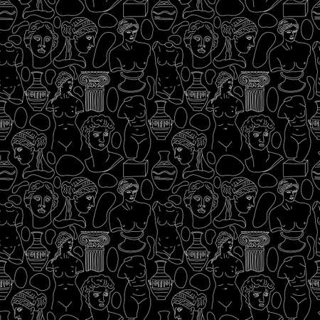 Ancient Greece and Rome tradition and culture vector seamless pattern on black. The linear trend of the ancient surface pattern, Ancient Greece and Ancient Rome. Ilustrace