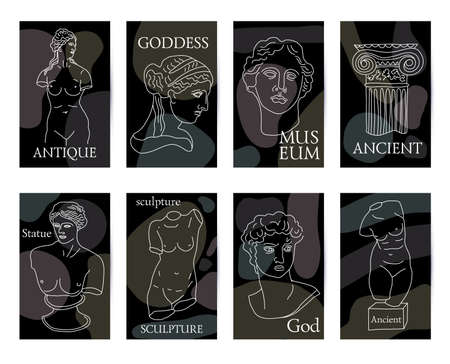 Ancient Greece and Rome set of 8 black cards tradition and culture vector seamless pattern. The linear trend of the ancient, Ancient Greece and Ancient Rome.