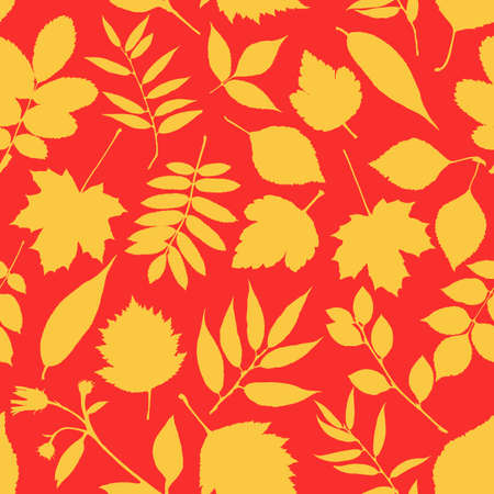 Lovely autumn leafs pattern in warm colors, seamless repeat. Trendy flat style. Great for backgrounds, cards, gift wrapping paper, home decor etc. Vettoriali