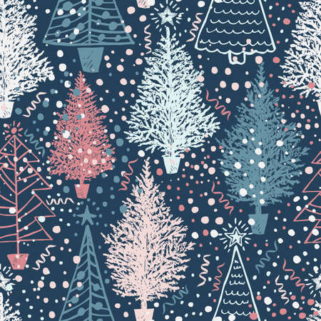 Seamless Vector Christmas pattern with Christmas abstract trees and snow on blue. Vector illustration perfect for greeting card backgrounds, giftwrapping, packaging or fabrics.