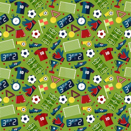 Vector flat seamless texture pattern sport soccer on green background .