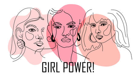 Girl power, empowered women, international feminism ideas poster concept. Linear trend illustration of women s faces in trendy style. Women Rights and diversity vector illustration. Vetores