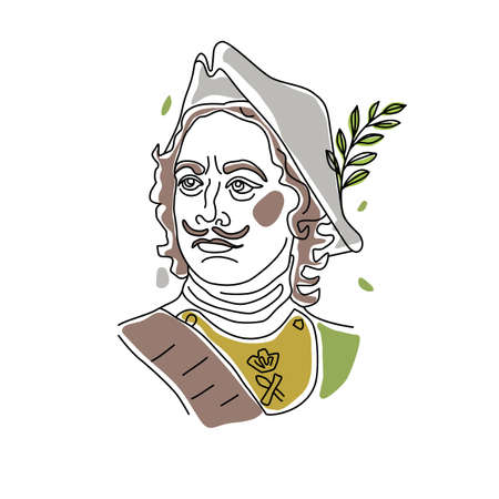 Linear trend portrait of a man in a historical military suit and hat. Russian tsar Peter 1. Vector illustration. Vecteurs