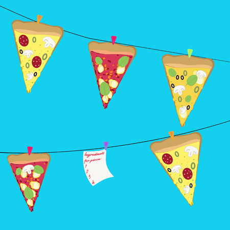margherita: Slices of pizza hang on a rope with pins
