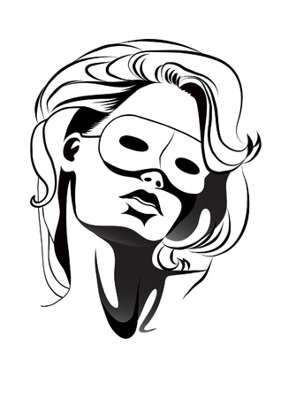 hair mask: Beautiful young woman in carnival mask  illustration