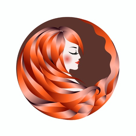 Profile of an abstract woman with red hair  Logo  illustration