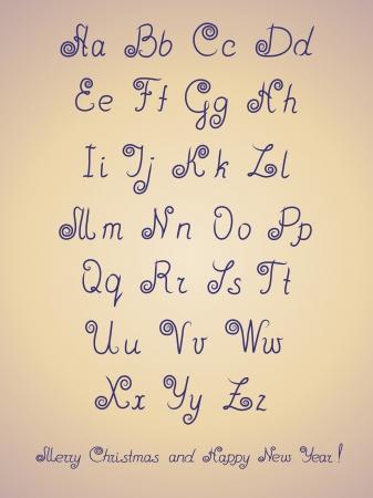 Pen alphabet letter  ABC letters calligraphy  illustration