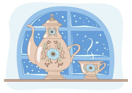Tea drinking on a winter evening  illustration  Vector