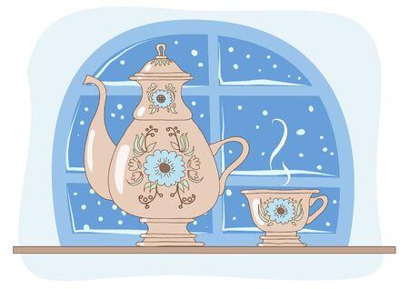 Tea drinking on a winter evening  illustration  Illustration