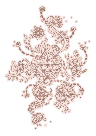 Floral pattern with leaves and big flowers  illustration