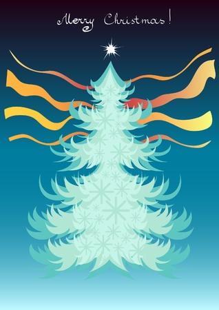 Christmas postcard Christmas tree  illustrasion