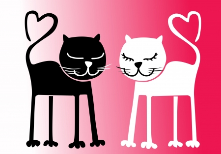 Black and white cats Heart-shaped tails St Valentine s Day  illustration