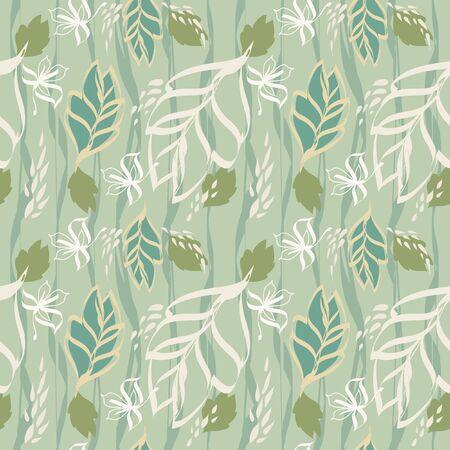 Summer leaves texture seamless pattern  illustration
