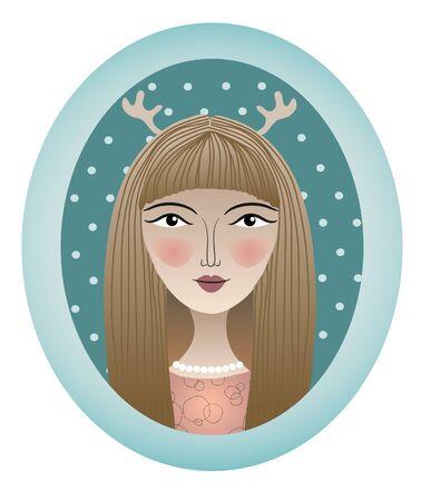 Girl portrait with attire in oval frame  illustration  Illustration