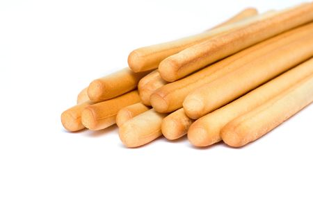 grissini: stack of grissini isolated on white background Stock Photo