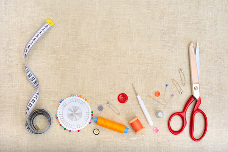 sewing item: Copyspace frame with sewing tools and accesories Stock Photo