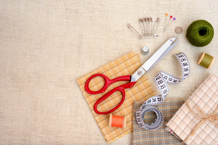 seamstress: Copyspace frame with sewing tools and accesories Stock Photo