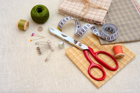 sewing pattern: Sewing tools and accessories on table