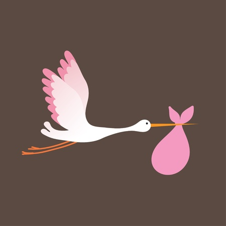 A cartoon illustration of a stork delivering a newborn baby girl Vector