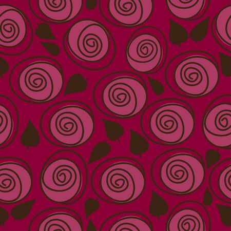 red swirl: Wallpaper for walls in vintage style, stylized red roses Illustration